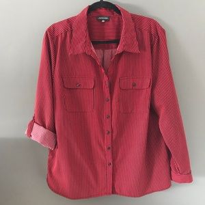Notations red and black striped blouse. Size XL